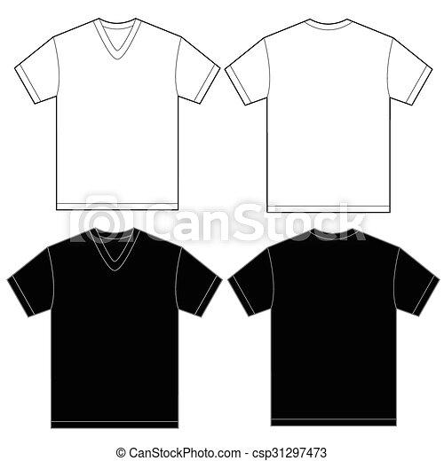 Black White V-Neck Shirt Design Template For Men - csp31297473 a304147c86b1b