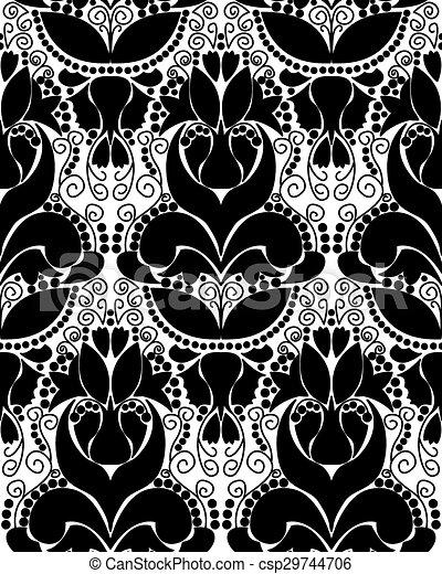 Black white vintage ornament csp29744706
