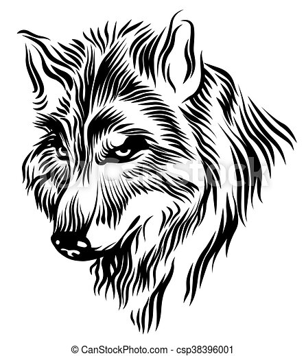 Black white wolf head csp38396001