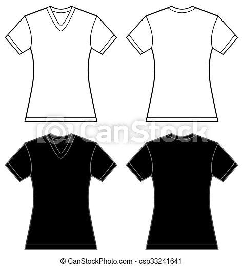 black white women 39 s v neck shirt design template vector illustration of black and white women 39 s. Black Bedroom Furniture Sets. Home Design Ideas