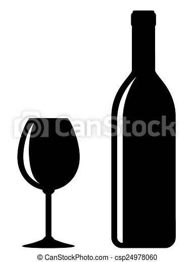 Black wine bottle with glass csp24978060