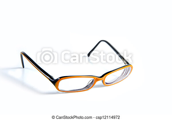 Black with orange glasses on white background - csp12114972