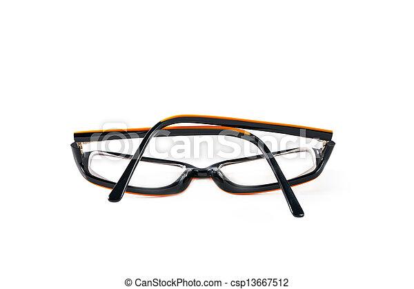 Black with orange glasses on white background - csp13667512