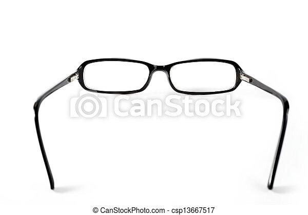 Black with orange glasses on white background - csp13667517