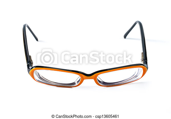 Black with orange glasses on white background - csp13605461