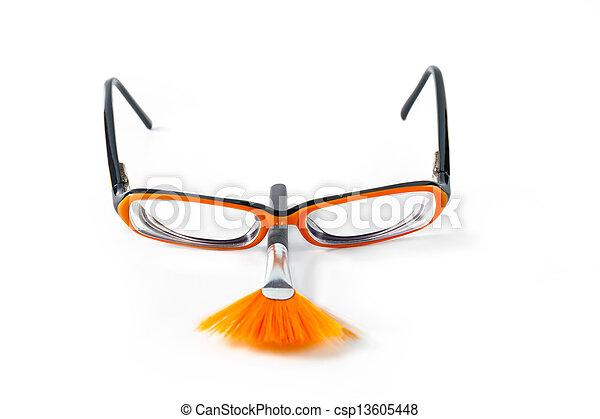 Black with orange glasses on white background - csp13605448