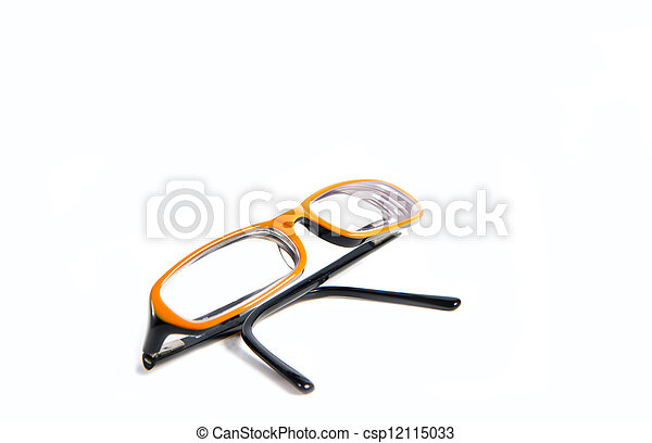 Black with orange glasses on white background - csp12115033
