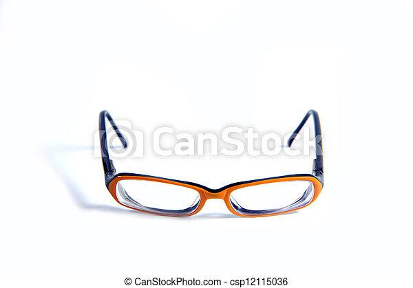 Black with orange glasses on white background - csp12115036