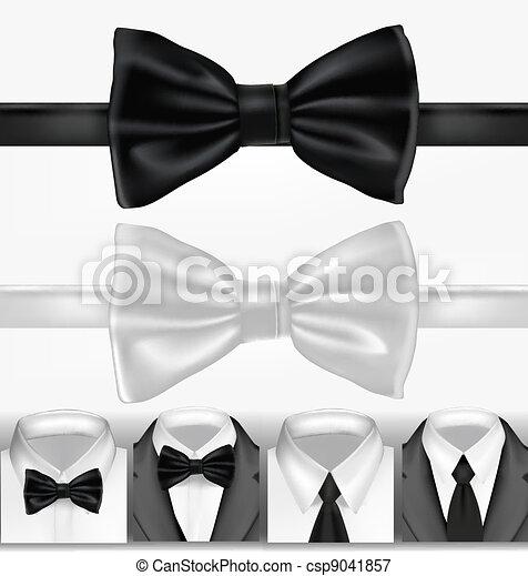 black , witte , vector, tie. - csp9041857