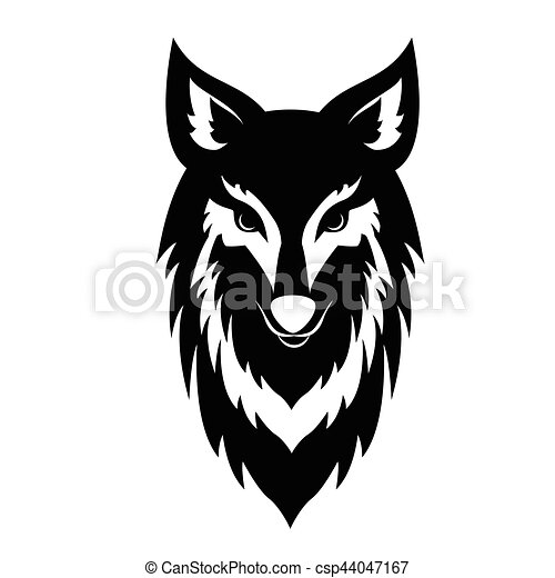 Black wolf face logo in monochrome style on white background isolated vector illustration