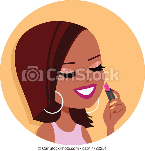 Black Woman doing Makeup Clipart - csp17722251
