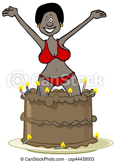 Astounding Black Woman Jumping Out Of A Cake Illustration Of A Black Woman Funny Birthday Cards Online Hetedamsfinfo