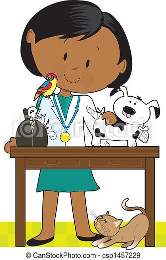 Black Woman Vet and Pets - csp1457229