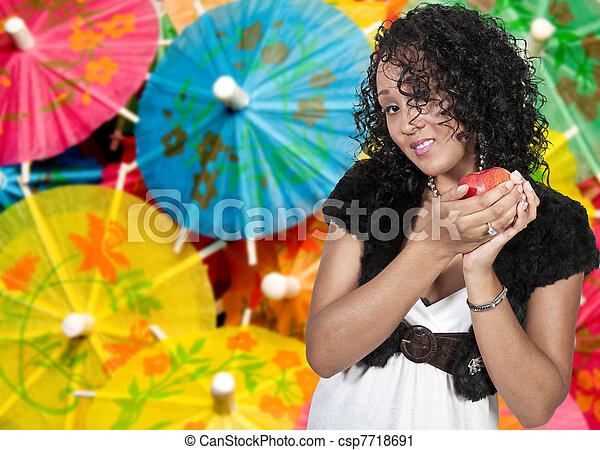Black Woman with an Apple - csp7718691