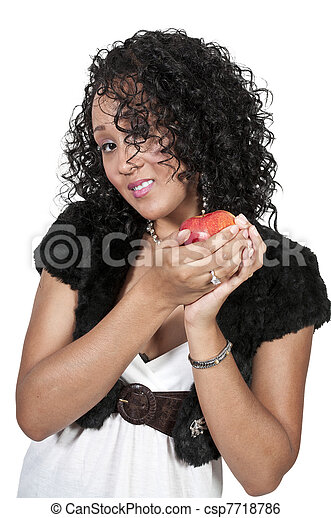 Black Woman with an Apple - csp7718786