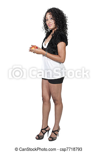 Black Woman with an Apple - csp7718793