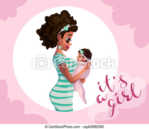 Black Woman With Child Mother Black Baby And Mother Illustrator Card Vector