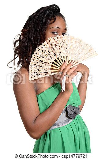 Black woman with fan - csp14779721