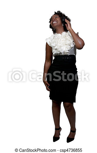 Black Woman with Headphones - csp4736855
