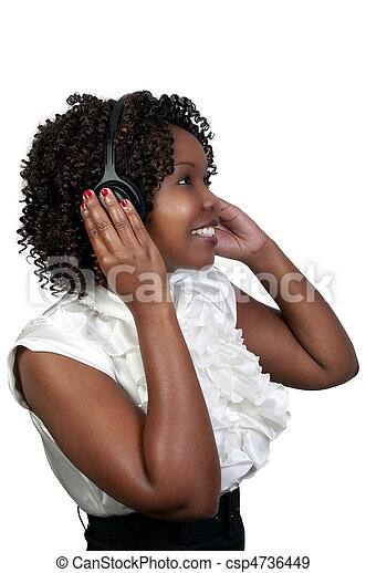 Black Woman with Headphones - csp4736449