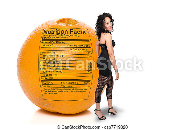 Black Woman with Orange Nutrition Facts - csp7719320