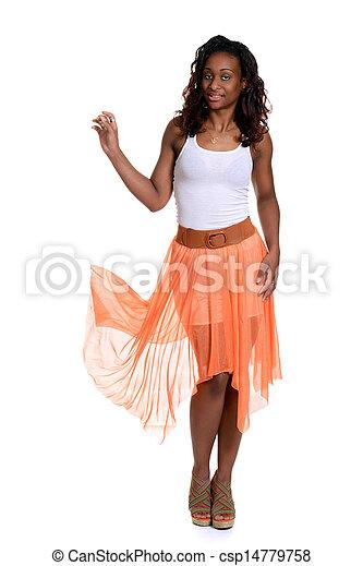 black woman with orange sheer dress - csp14779758