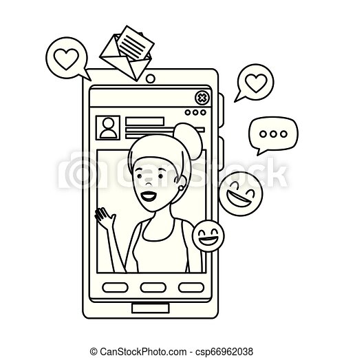 black woman with smartphone and social media icons - csp66962038