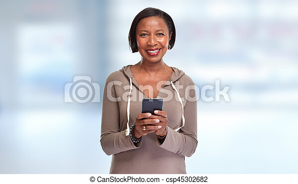 Black woman with smartphone. - csp45302682
