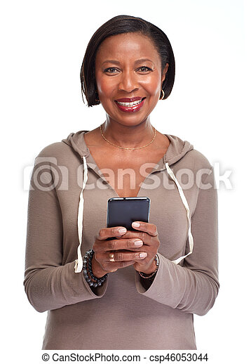 Black woman with smartphone. - csp46053044
