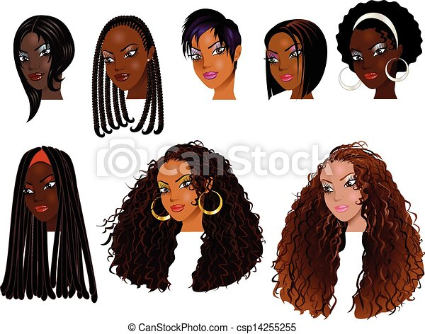 Line Drawing Of Female Face : Black women faces vector illustration of clipart