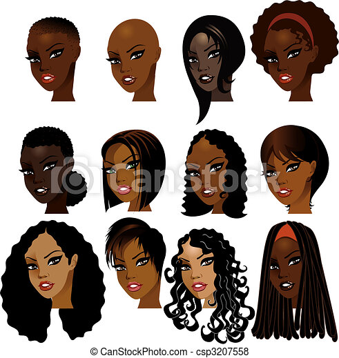 Black Women Faces - csp3207558