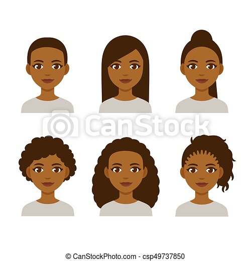 Black Women Hairstyles Black Women Faces With Different Hair Styles