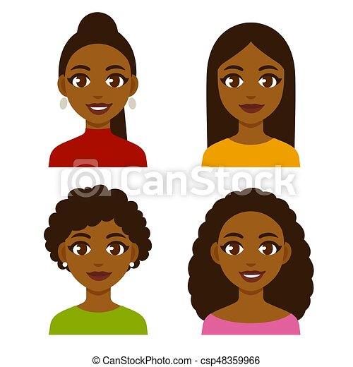 Black Women Set Cute Cartoon Black Girls With Natural Hairstyles