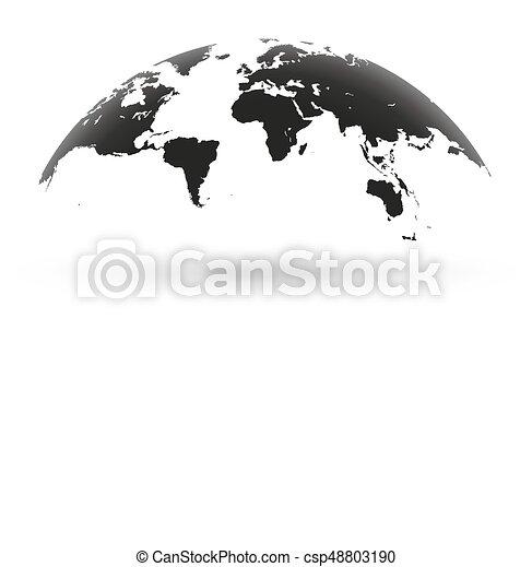 Black world map globe isolated on white background detailed black black world map globe isolated on white background csp48803190 gumiabroncs Choice Image