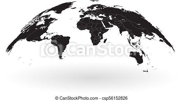 Black world map globe isolated on white background detailed black black world map globe isolated on white background csp56152826 gumiabroncs Choice Image