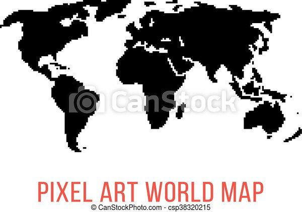 Black world map in pixel art concept of locations 8bit vector