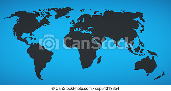 Black world map on a blue background 3d rendering stock black world map on a blue background csp54319354 gumiabroncs Images