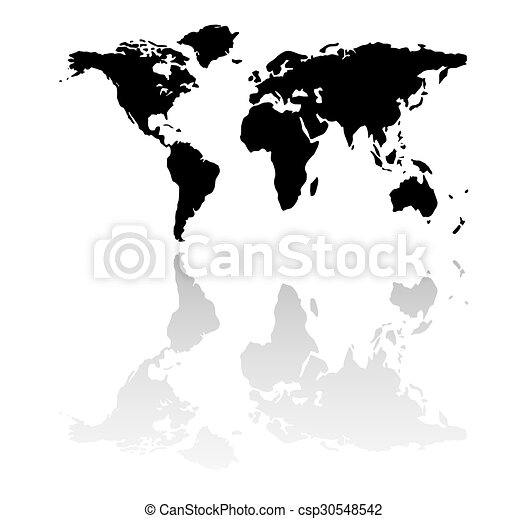 Black world map silhouette black world map with mirror reflection black world map silhouette csp30548542 gumiabroncs Images