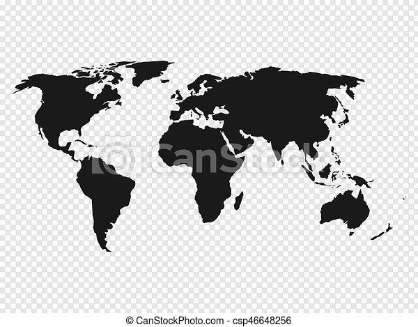 Black world map silhouette on transparent background vector black world map silhouette on transparent background vector illustration gumiabroncs Image collections