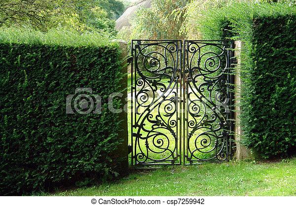 Black Wrought Iron Garden Gate   Csp7259942