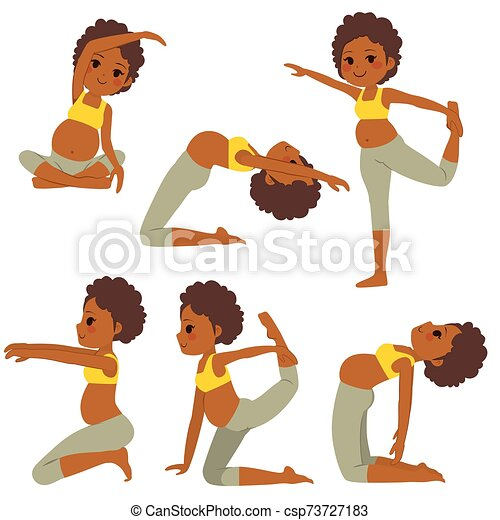 Black Yoga Pregnant Woman Poses Young Black Beautiful Pregnant Woman Set Poses Collection Training And Exercising