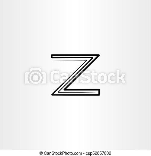 Black Z Logo Letter Line Vector Icon Logotype Black Z Logo Letter