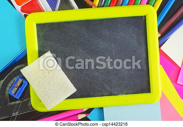 blackboard and school supplies - csp14423218