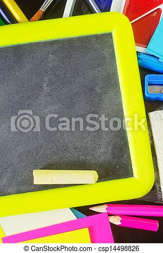 blackboard and school supplies - csp14498826