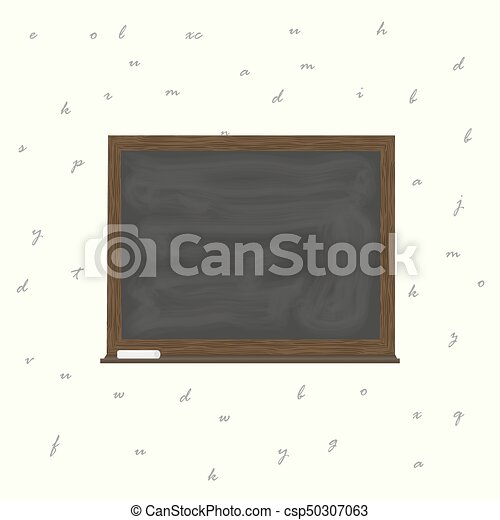 Blackboard Background And Wooden Frame Rubbed Out Dirty Chalkboard