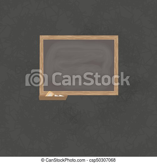 Blackboard background and wooden frame, rubbed out dirty chalkboard ...