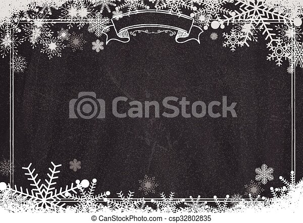Blackboard Background With Border Winter Snowflake And Snow A4