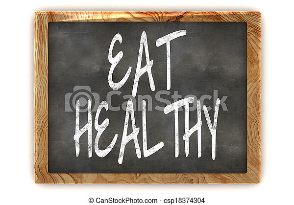 Blackboard Eat Healthy - csp18374304