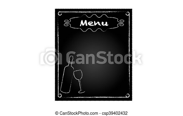 Blackboard for restaurant menu with bottle and glass - csp39402432