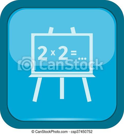 Blackboard icon on a blue button - csp37450752